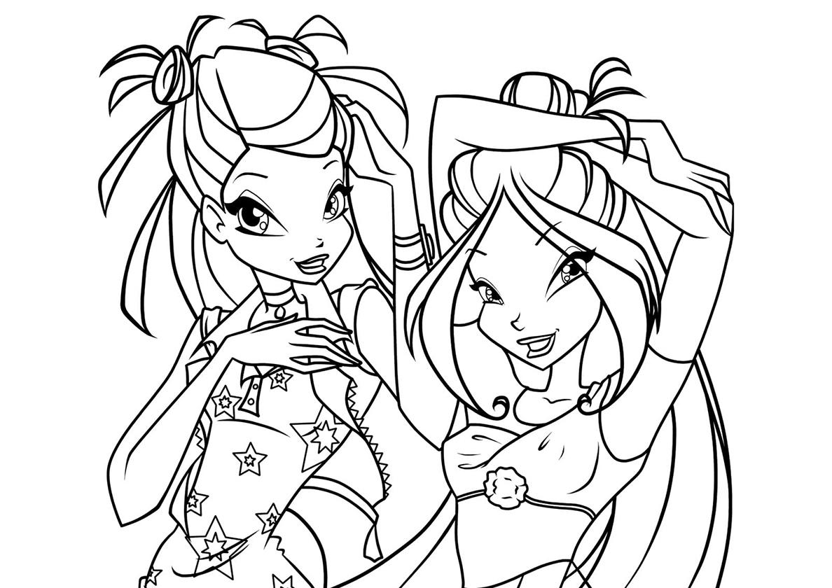 Раскраска Флора и Лейла распечатать | Винкс / Winx