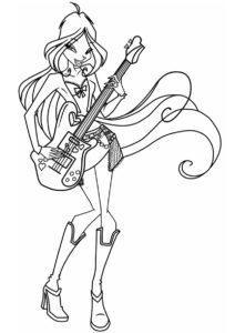 Флора с гитарой разукрашка скачать и распечатать - Флора