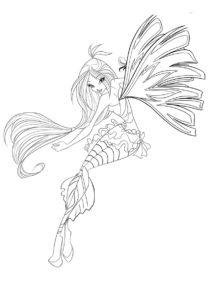 Флора в странном костюме - Флора раскраска распечатать на А4