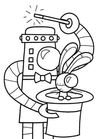 Фокусник раскраска распечатать бесплатно на А4 - Роботы