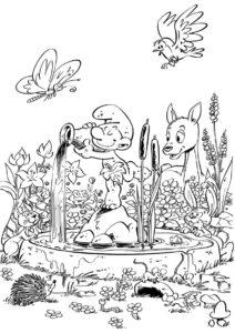 Бесплатная раскраска Фонтан в честь смурфов распечатать на А4 - Смурфики