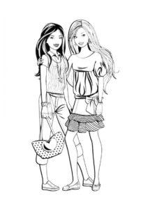 Барби бесплатная раскраска распечатать на А4 - Фото с подружкой