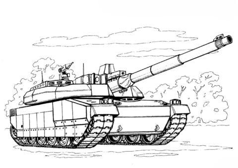 Бесплатная разукрашка для печати и скачивания Французский танк Леклерк - Танки