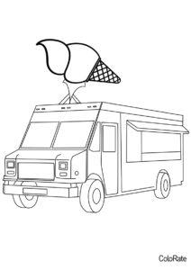 Фургон мороженщика разукрашка скачать и распечатать - Грузовики