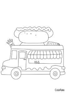 Фургон с хот-догом распечатать раскраску - Грузовики