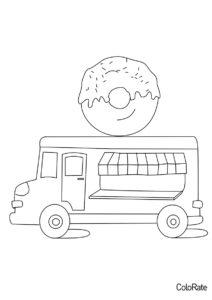Грузовики бесплатная раскраска - Фургон с пончиком