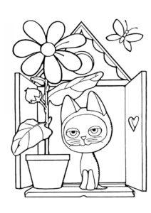 Бесплатная разукрашка для печати и скачивания Гав на подоконнике - Коты, кошки, котята