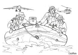 Военные распечатать раскраску - Где-то на воде