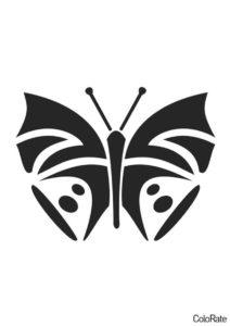 Геометрическая бабочка - Трафареты бабочек трафарет распечатать на А4