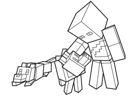 Герой с собачками (Майнкрафт) раскраска для печати и загрузки