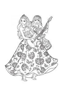 Гитарный дуэт (Барби) распечатать раскраску