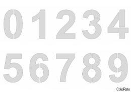 Glasten - Все цифры на формат А4 (Трафареты цифр) распечатать бесплатный трафарет