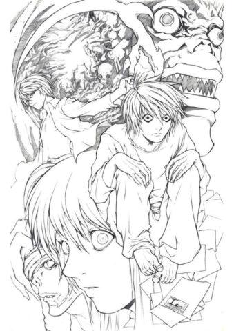 Главные персонажи распечатать раскраску - Тетрадь смерти