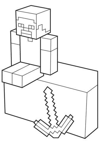 Майнкрафт бесплатная разукрашка - Главный герой Майнкрафта