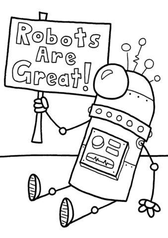 Бесплатная раскраска Голосующий робот распечатать на А4 - Роботы
