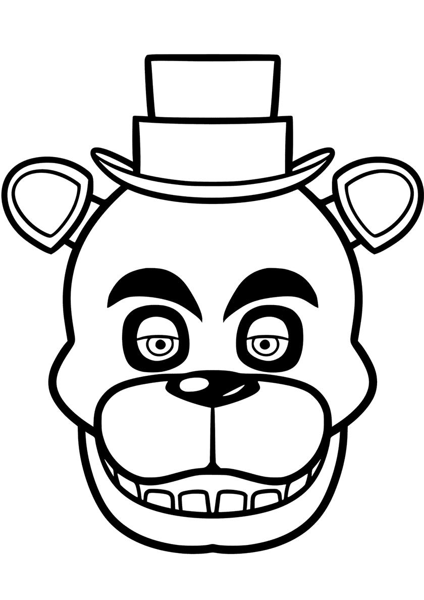 Раскраска Голова Фредди распечатать | ФНАФ и Аниматроники