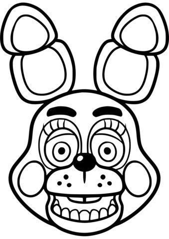 Голова игрушечного Бонни распечатать и скачать раскраску - ФНАФ и Аниматроники