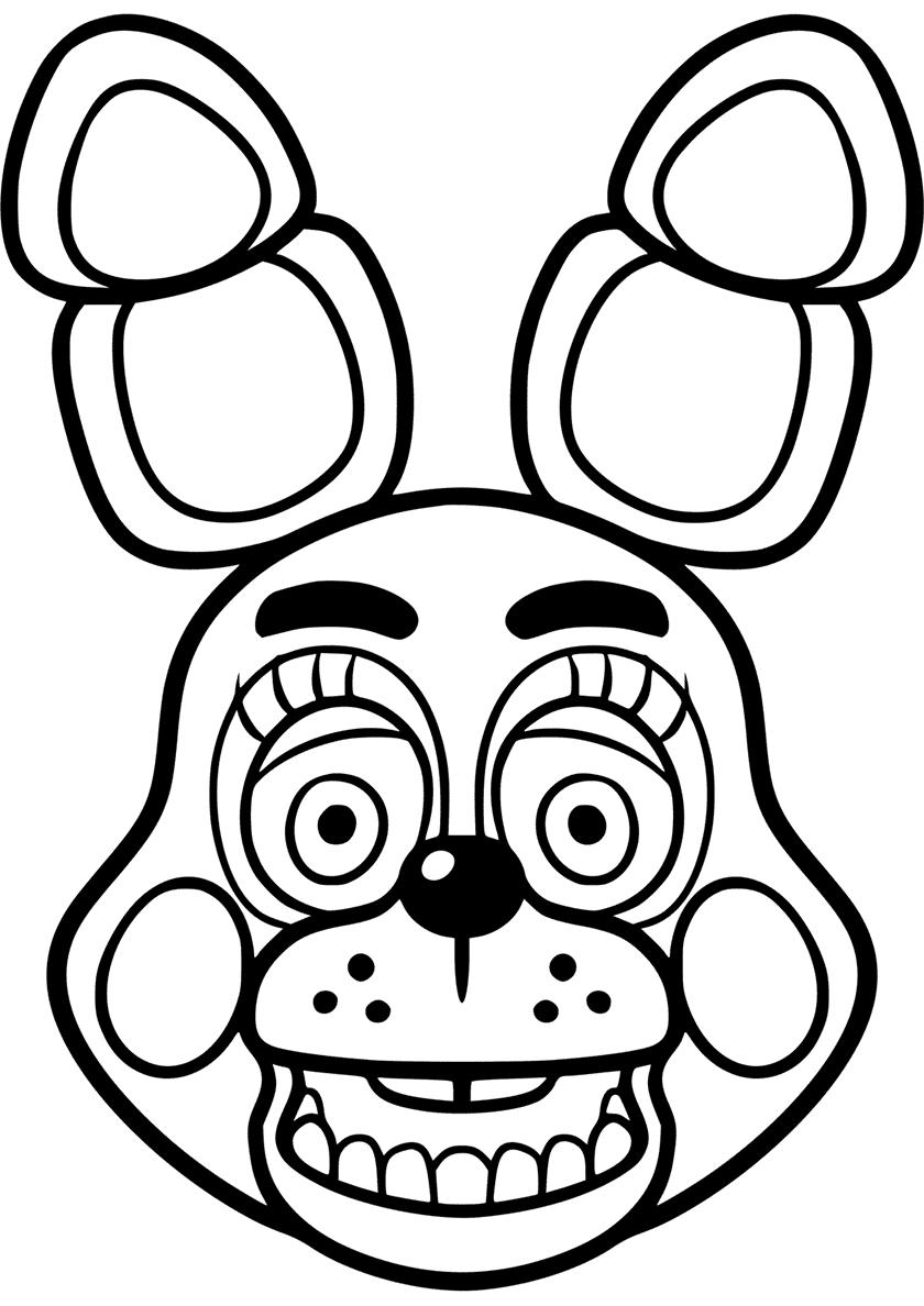 Раскраска Голова игрушечного Бонни распечатать | ФНАФ и ...