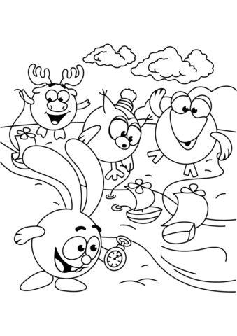 Смешарики распечатать раскраску - Гонка корабликов