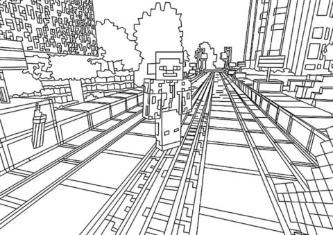 Городок из Майнкрафта - Майнкрафт распечатать раскраску на А4