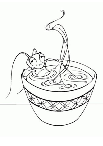Раскраска Горячая ванночка распечатать на А4 - Мулан