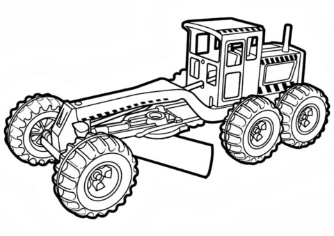 Раскраска Грейдер в изометрии - Трактора