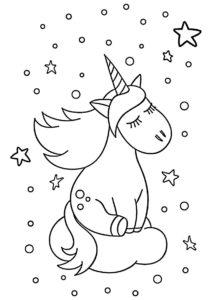 Единороги бесплатная раскраска - Грезы о звезде