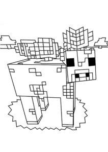 Грибная корова на острове (Майнкрафт) бесплатная раскраска