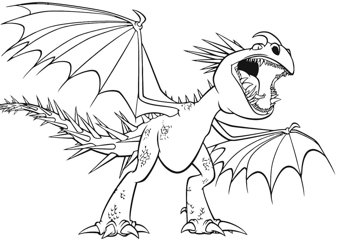 Раскраска Громгильда с открытой пастью распечатать   Драконы