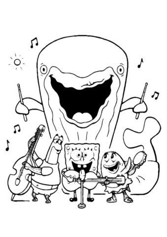 Группа Спанч Боба разукрашка скачать и распечатать - Губка Боб