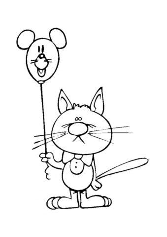 Разукрашка Грусный котяра с шариком распечатать и скачать - Коты, кошки, котята