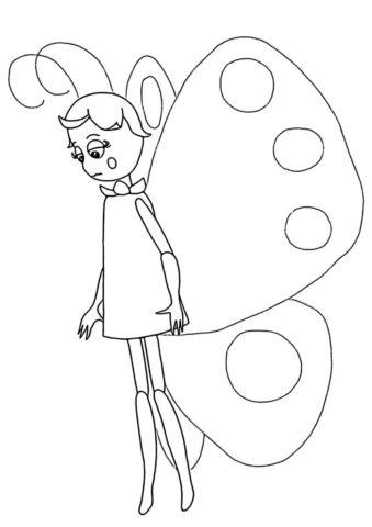Разукрашка Грустная бабочка распечатать и скачать - Лунтик