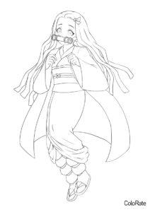 Бесплатная раскраска Грустная Незуко - Раскраски из аниме «Клинок, рассекающий демонов»