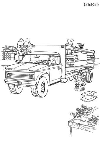 Бесплатная разукрашка для печати и скачивания Грузовик агронома - Грузовики