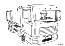 Бесплатная раскраска Грузовик с водителем - Грузовики