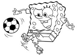 Разукрашка Губка Боб играет в футбол распечатать на А4 и скачать - Губка Боб
