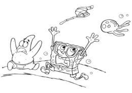 Губка и Патрик убегают от медузы раскраска распечатать и скачать - Губка Боб