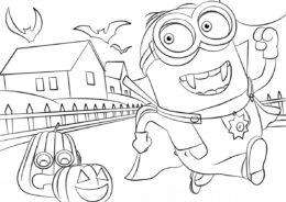Хэллоуинское приключение - Миньоны раскраска распечатать на А4