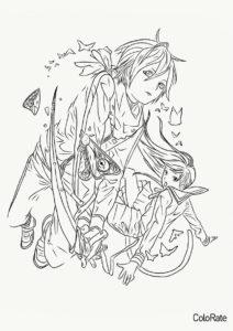 Бездомный бог распечатать раскраску - Хиёри и Ято