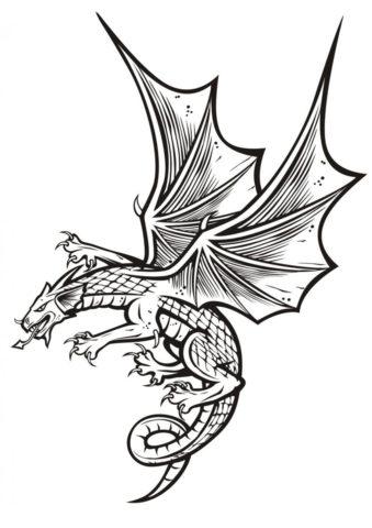 Распечатать раскраску Хищный дракон - Драконы