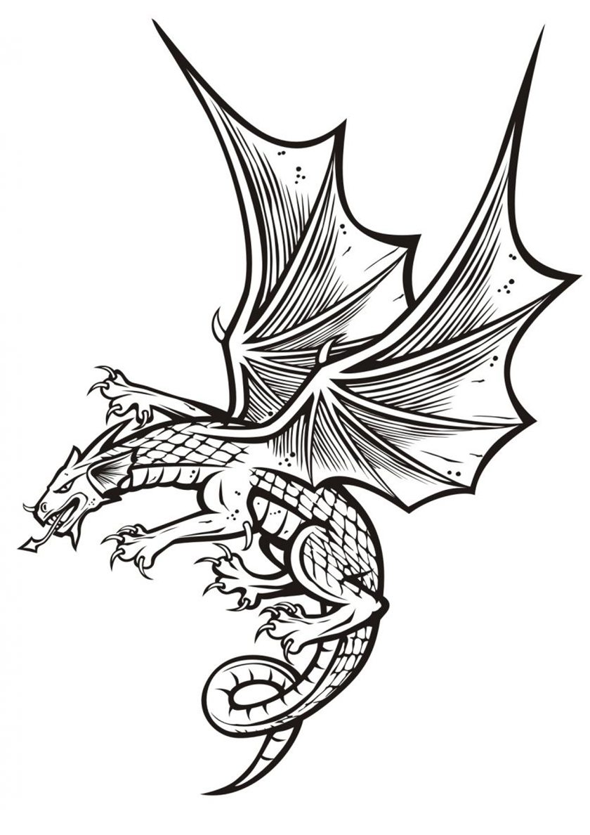 Раскраска Хищный дракон распечатать | Драконы