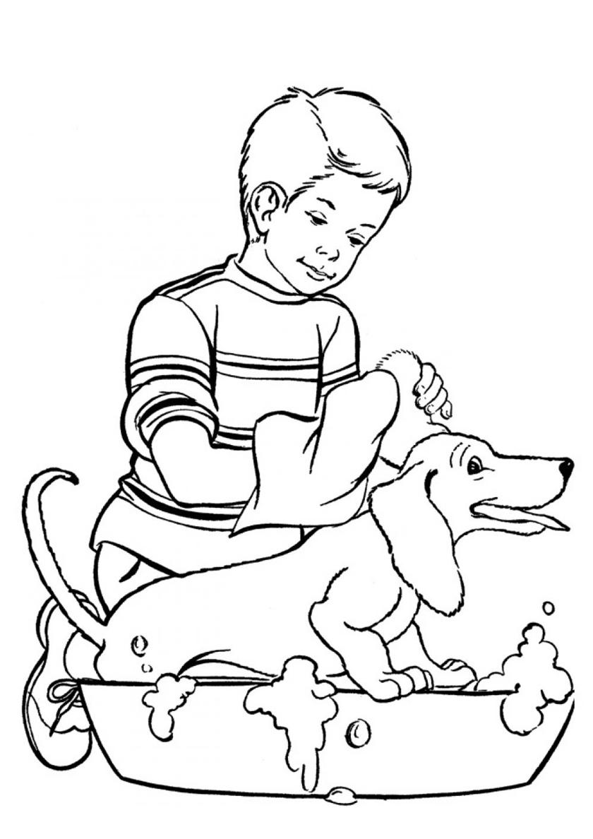 Раскраска Хозяин моет свою таксу распечатать | Собаки и щенки