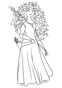 Храбрая сердцем лучница - Мерида раскраска распечатать на А4