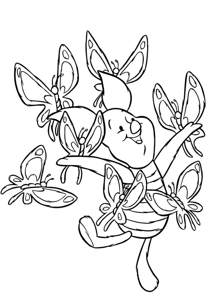 Раскраска Хрюня с бабочками распечатать | Винни Пух