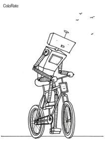 Разукрашка И роботы любят покататься распечатать на А4 и скачать - Велосипеды