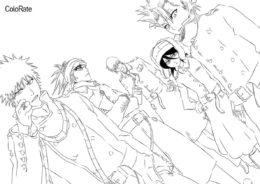 Раскраска Ичиго и компания распечатать на А4 - Блич