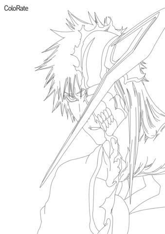 Раскраска Ичиго в частичной форме пустого распечатать на А4 - Блич