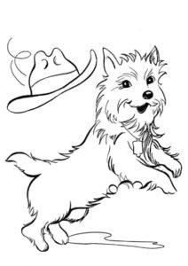Бесплатная раскраска Игра со шляпой распечатать и скачать - Собаки и щенки