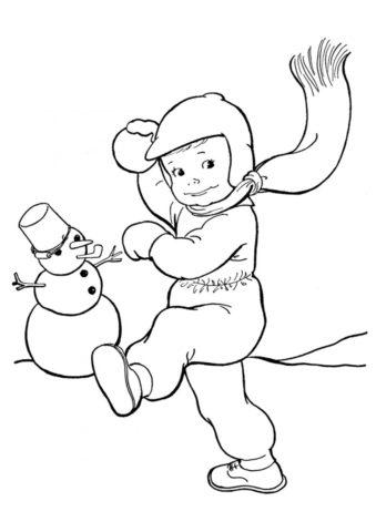 Раскраска Игра в снежки со снеговиком распечатать на А4 и скачать - Зима