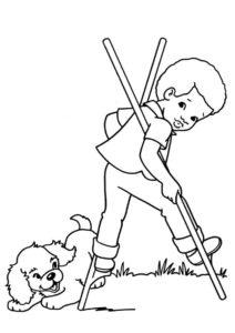Игривый щенок и мальчик на ходулях (Собаки и щенки) бесплатная раскраска